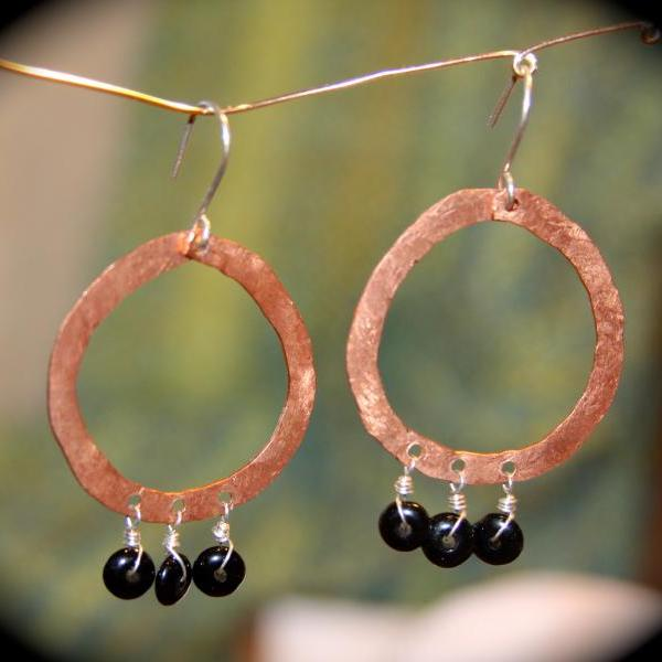Boho Sterling Silver and Copper Hoop Earrings - Handmade Black Beaded Earrings